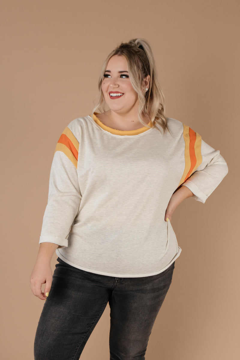 Sporty Stripe Pullover In Oatmeal - Amaranth Collection