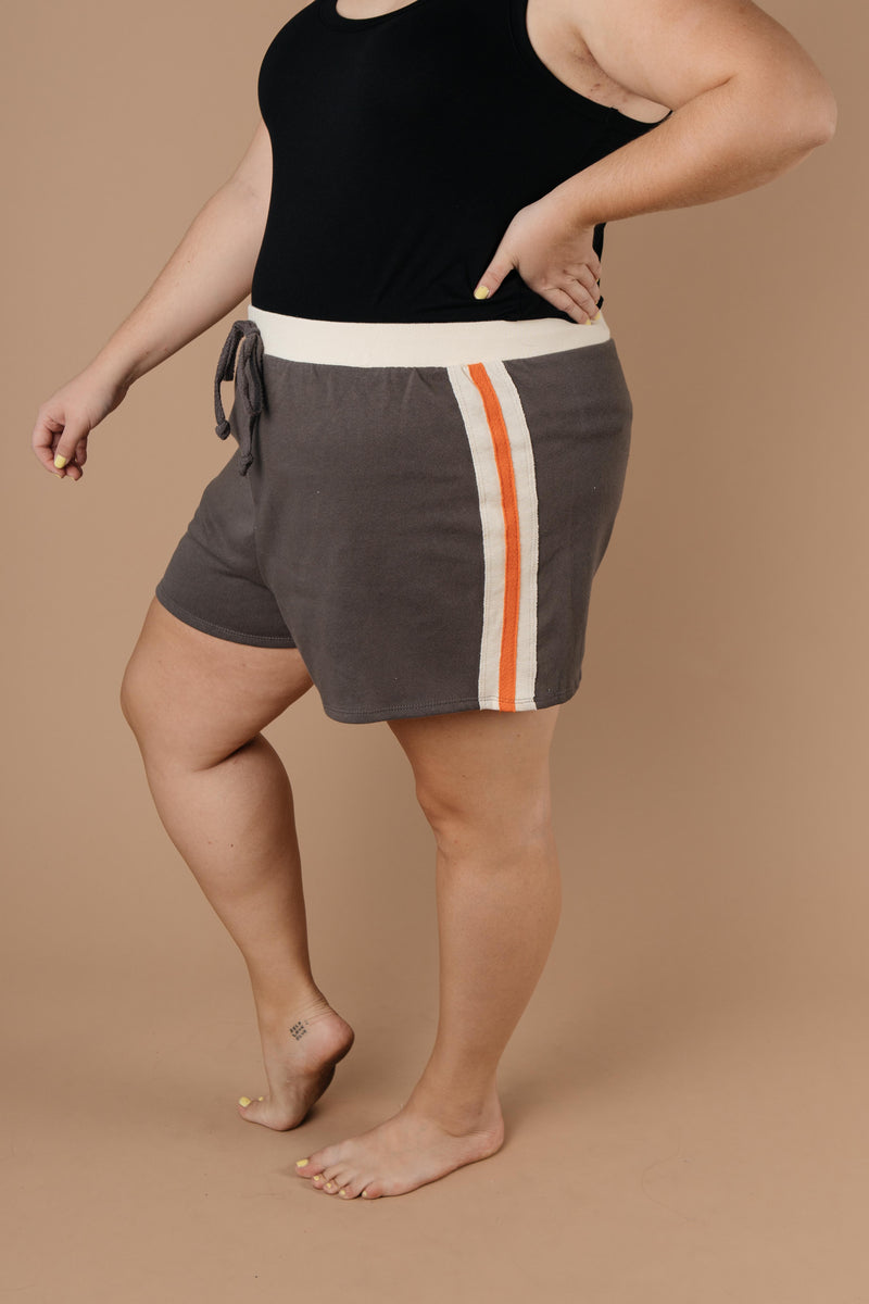 Sporty Stripe Shorts In Charcoal - Amaranth Collection
