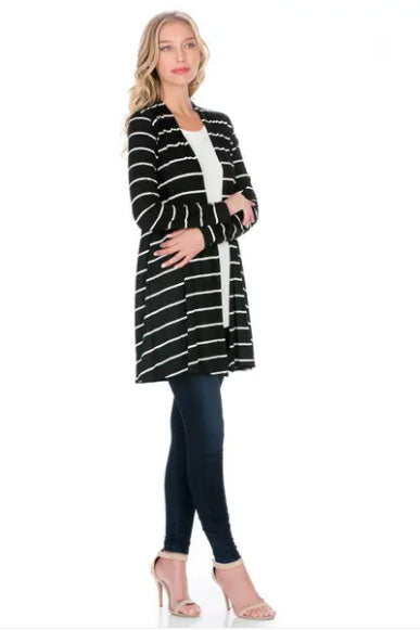 Black and White Striped Lightweight Cardigan