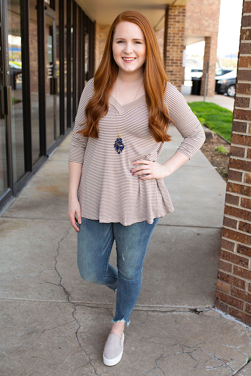 Taupe V Neck Front and Back Striped Top