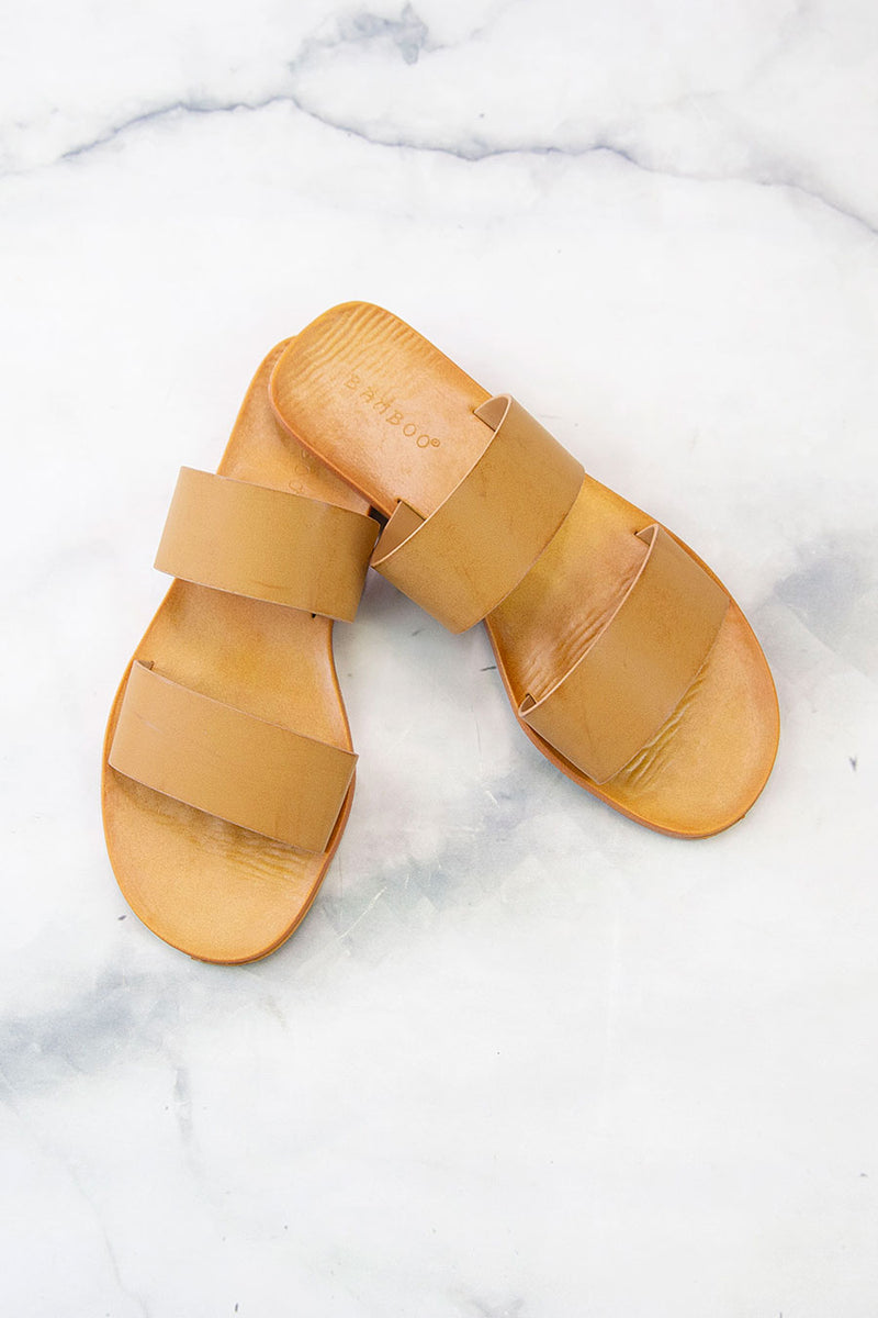 Two Step Two Strap Sandal in Tan