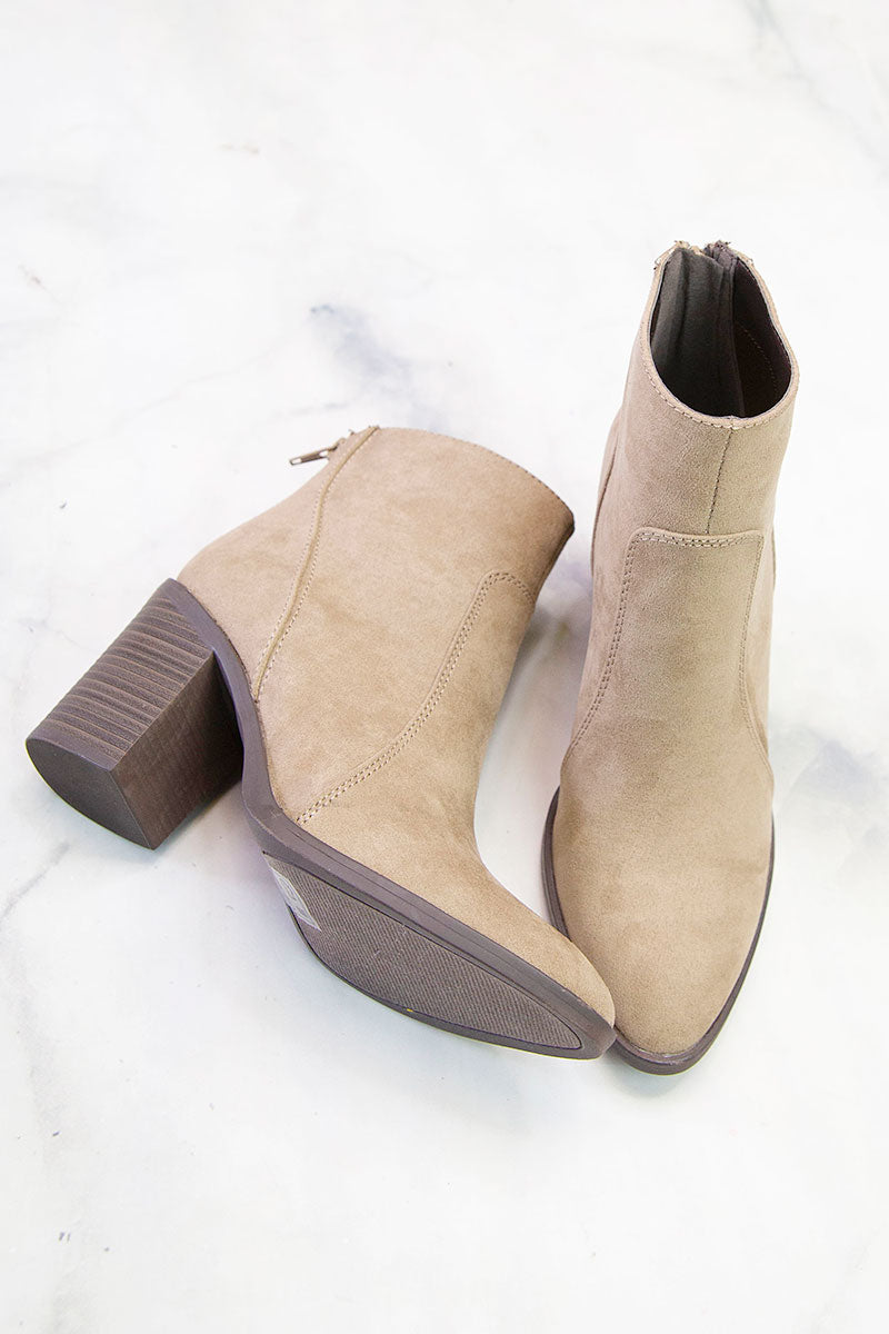 Snatch Taupe Suede Bootie