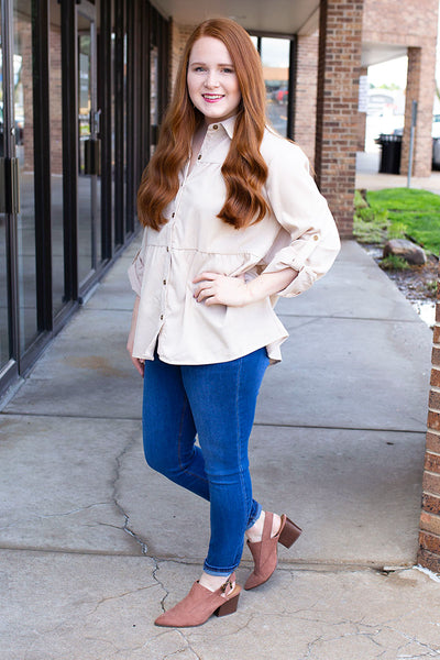 Taupe Button Up Corduroy Top