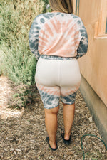 Tickle Me Tie Dye Shorts in Peach