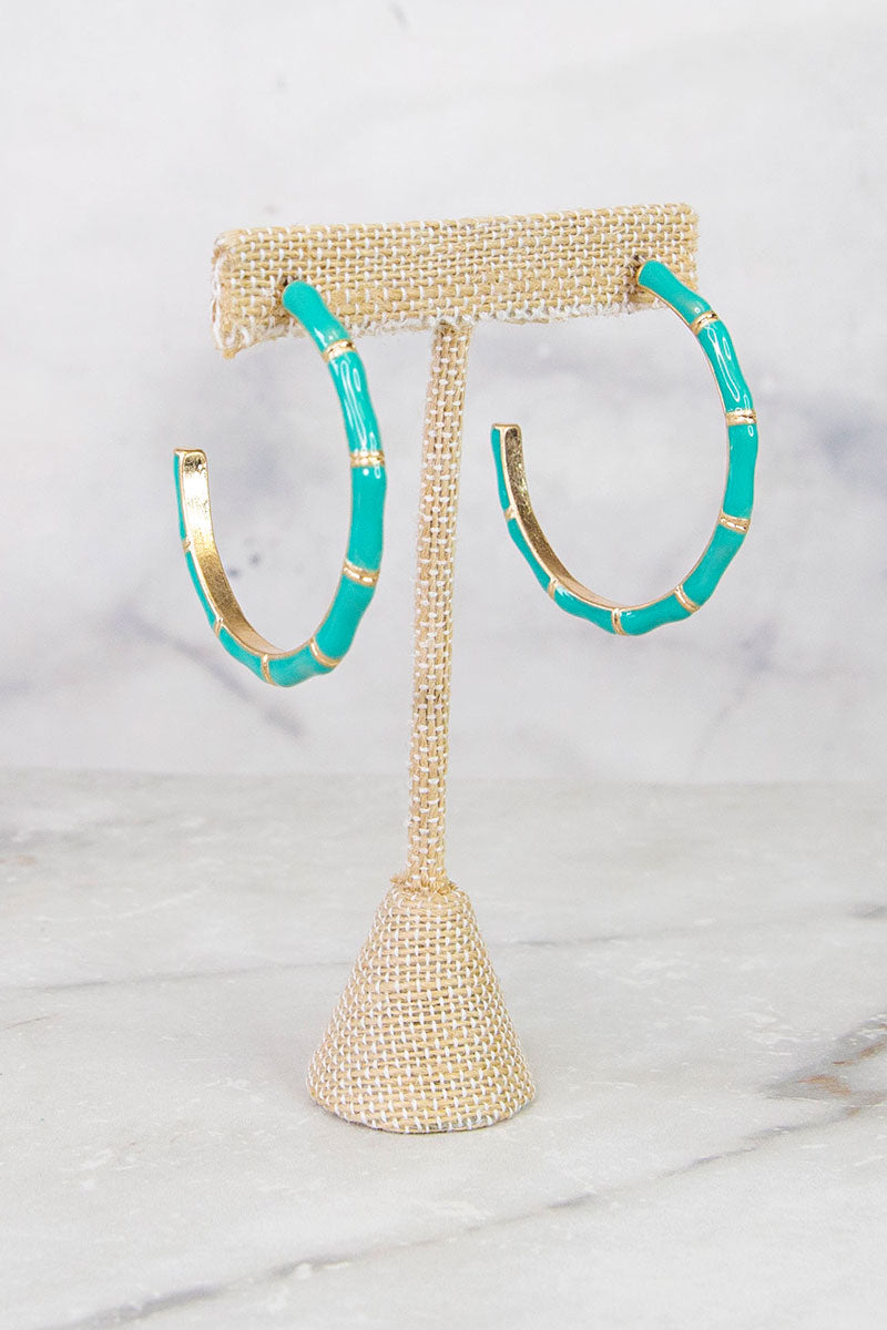 Turquoise Bamboo Style Earrings