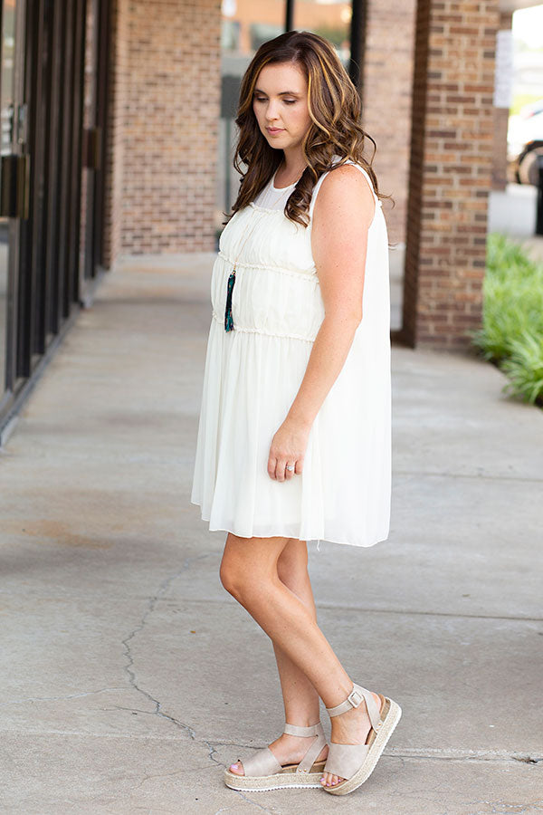 Walking on Clouds Dress in White
