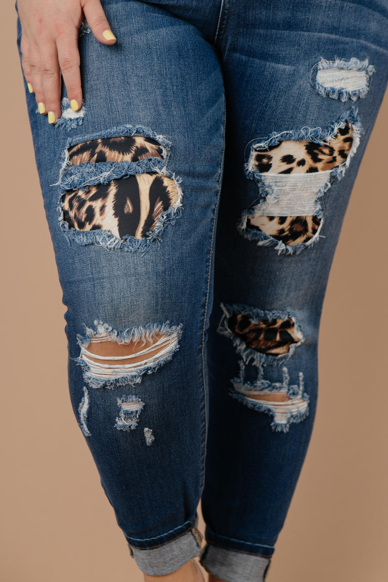 Wild Thing Leopard Patch Jeans - Amaranth Collection