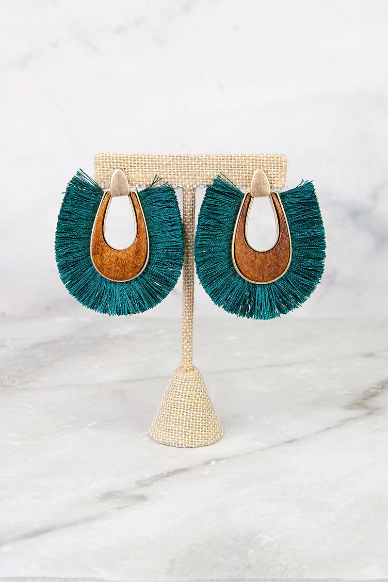 Teal Fringe with Wood Earrings