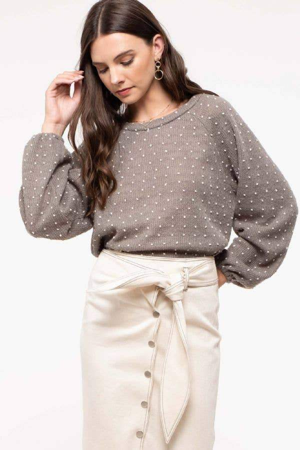 Tie-Back Swiss Dot Knit Sweater - Amaranth Collection