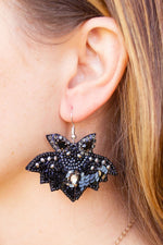 Beaded Jewel Bat Statement Earrings