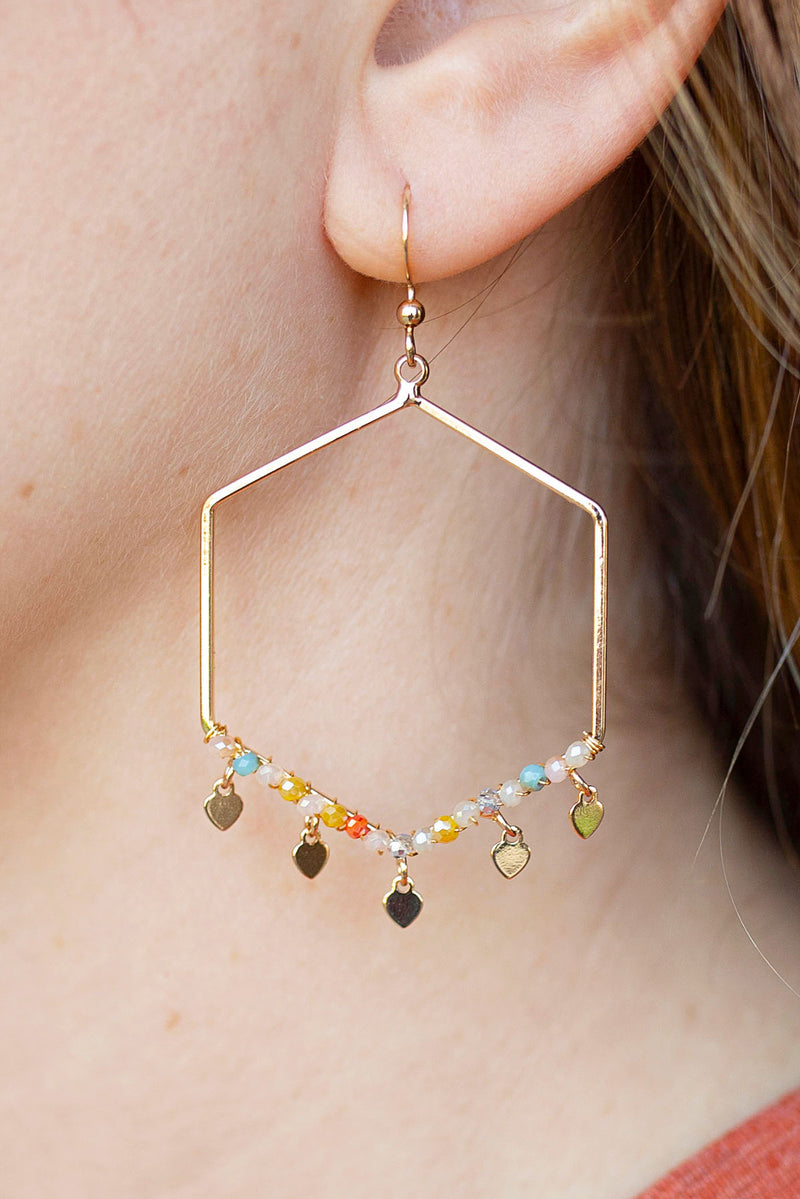 Glass Beaded Geometric Dangling Earrings