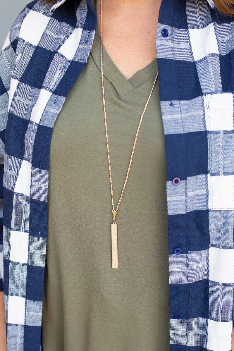 Beige Snakeskin Long Bar Necklace - Amaranth Collection