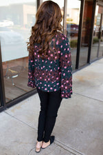 Abstract Animal Print Bell Sleeve TOp