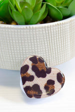 Heart Phone Grip in Large Leopard Print