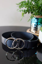 Black and Silver Double Ring Belt