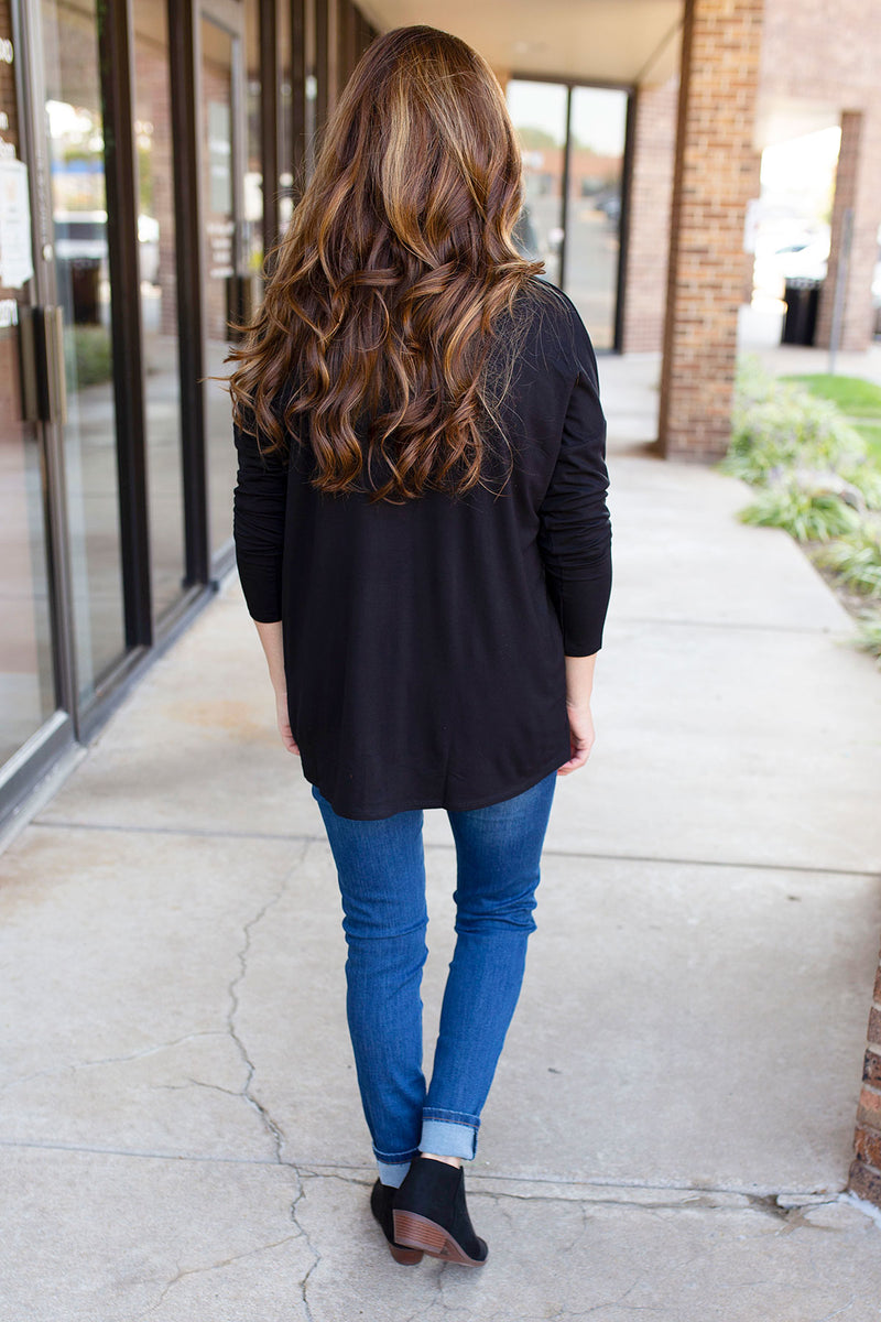 Button V Neck Long Sleeve Top in Black