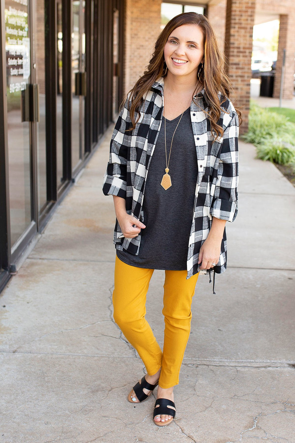 black and white checkered plaid flannel top