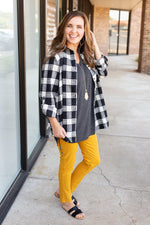 black and white plaid top