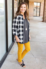 black and white checkered flannel top