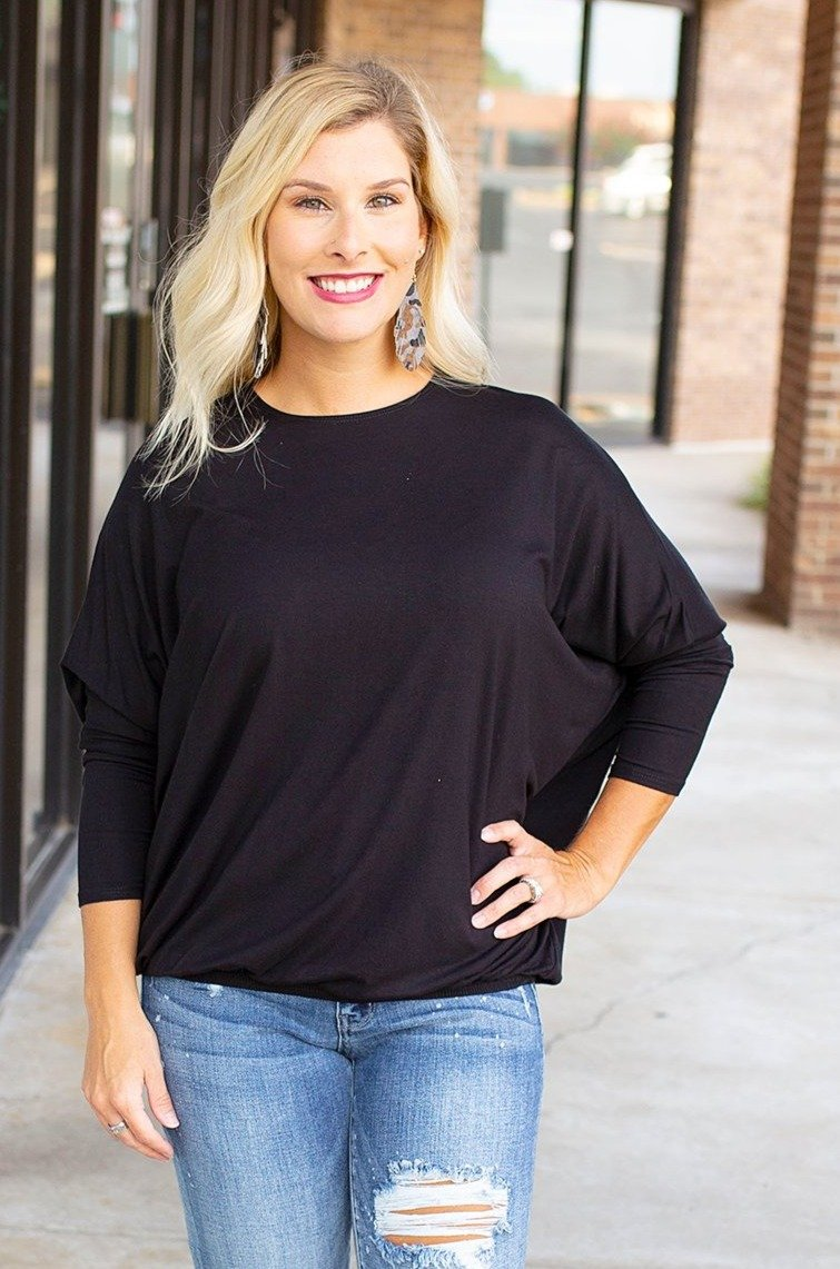 black dolman top with elastic hem