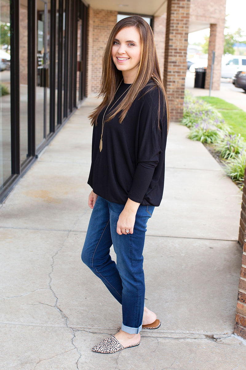 A Lot Like Me Dolman Sleeve Top in Black