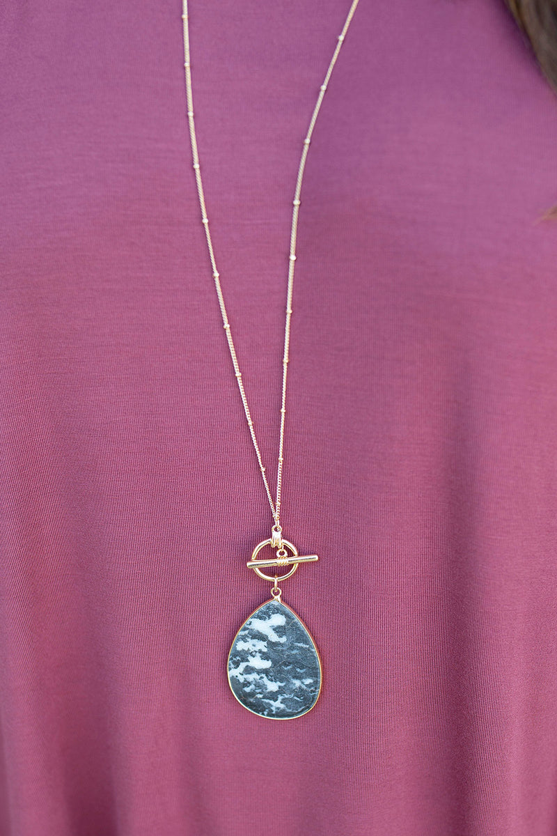 Stone Drop Long Necklace in Black