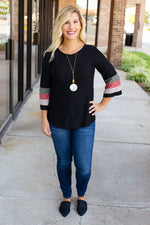 Swiss Dot Fall Colors Quarter Sleeve Top - Amaranth Collection