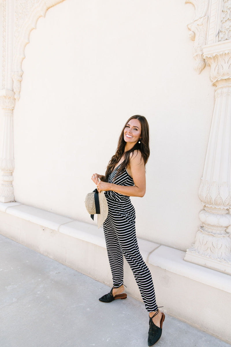 Black & White Striped Surplice Jumpsuit - Amaranth Collection