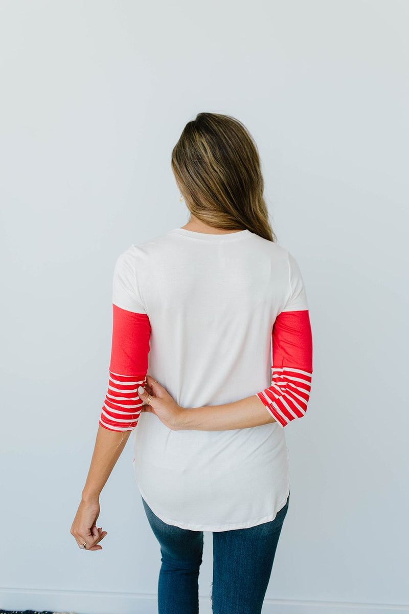 Block Talk Top In Red - Amaranth Collection