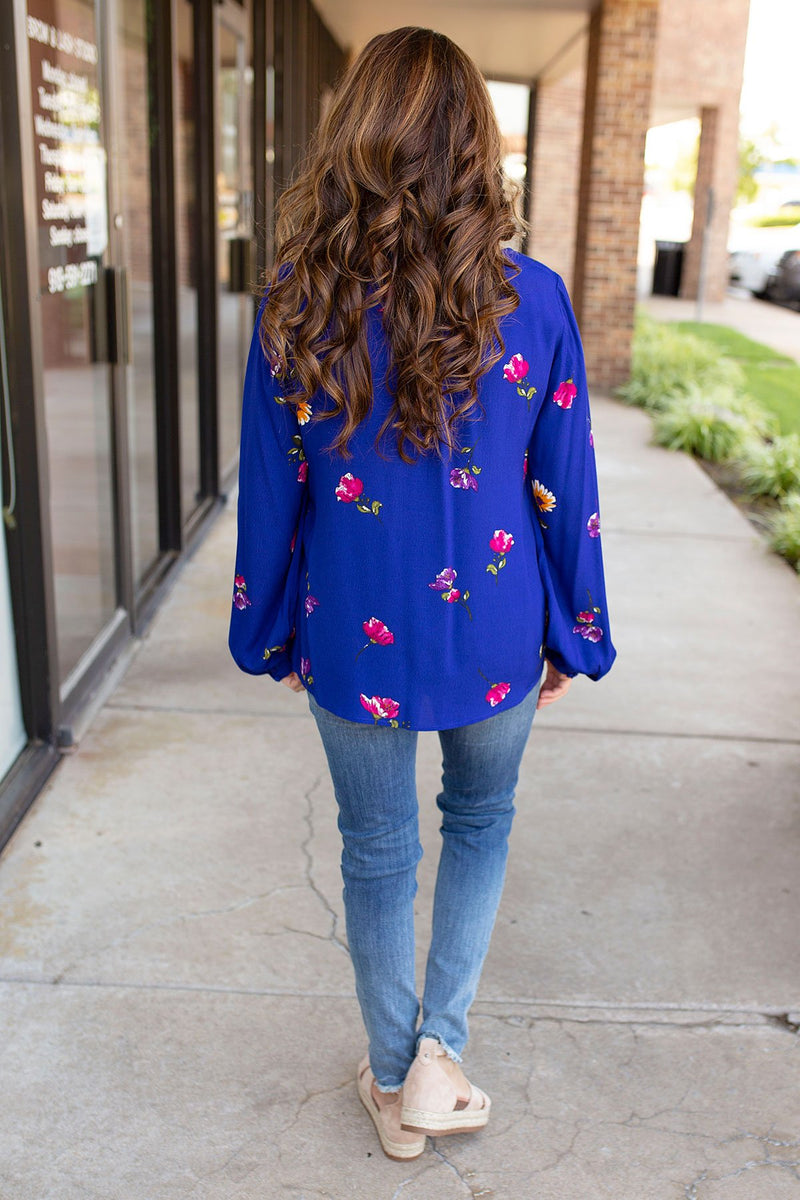 Flowy Floral Top in Royal Blue - Amaranth Collection