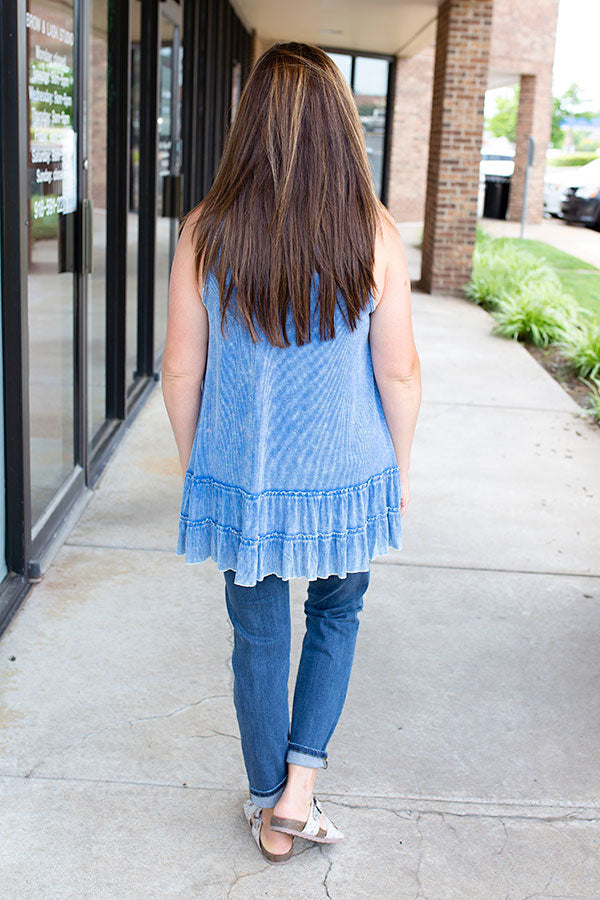 Blue Ruffle and Ribbed Tank Top