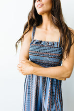 Boho Smocked Jumpsuit In Blue - Amaranth Collection