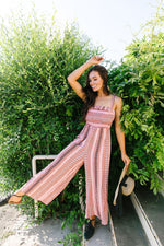 Boho Smocked Jumpsuit In Mauve - Amaranth Collection