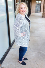 Cozy Geometric Eyelash Cardigan