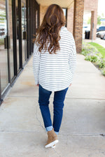 Striped Thermal Cowl Neck Top