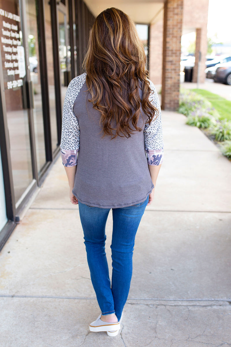 Leopard & Camo 3/4 Sleeve Top in Charcoal