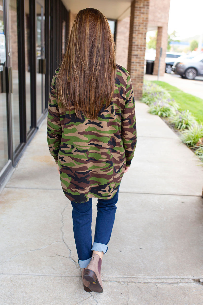 Oversized Long Sleeve Crew Neck in Camo