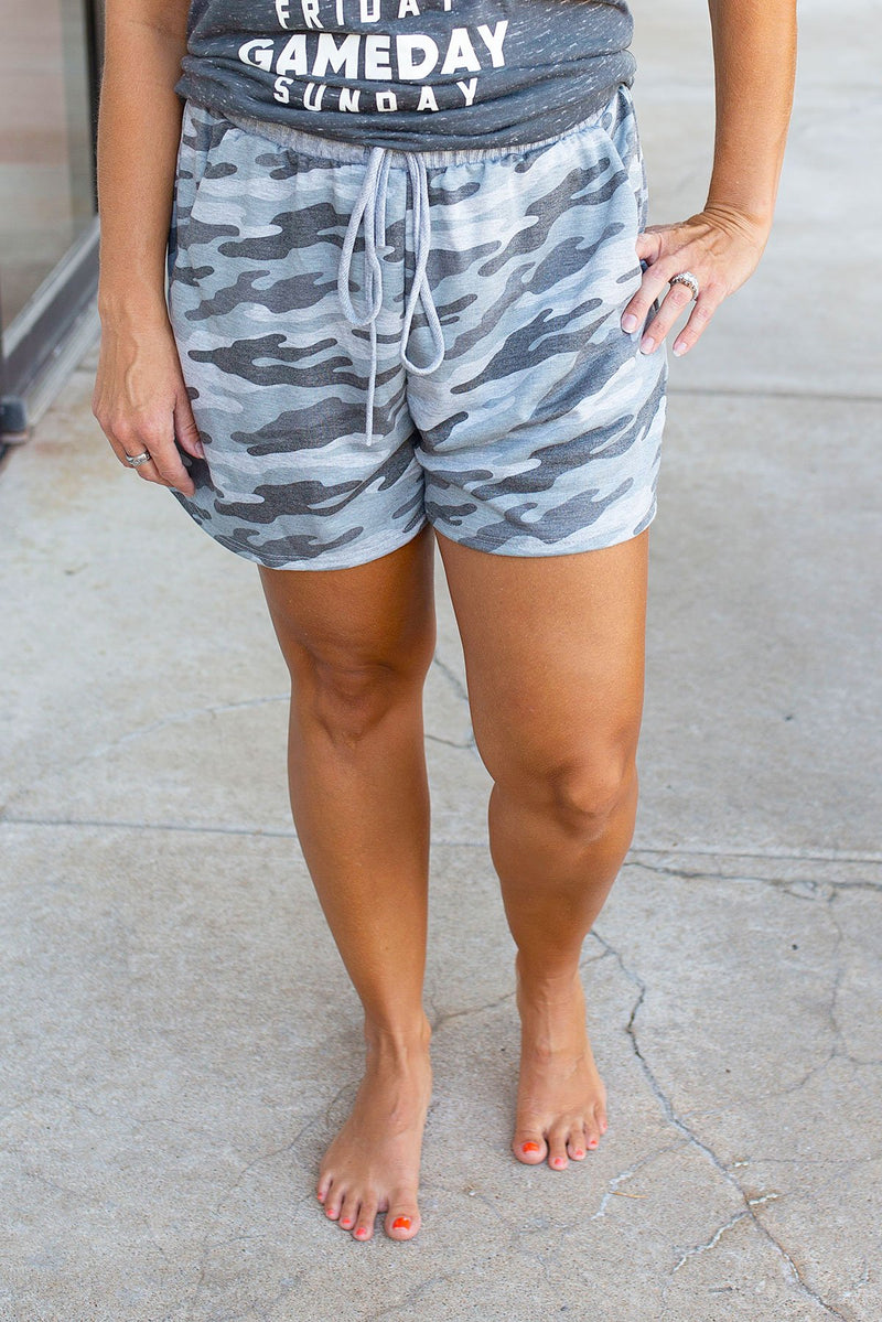 CAMO PRINT LOUNGE SHORTS WITH POCKET - Amaranth Collection