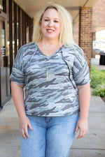 SHORT SLEEVE CAMO PRINT BOXY TOP - Amaranth Collection