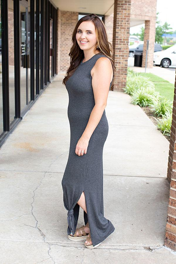 Fitted Sleeveless Maxi Dress with Side Split in Charcoal - Amaranth Collection