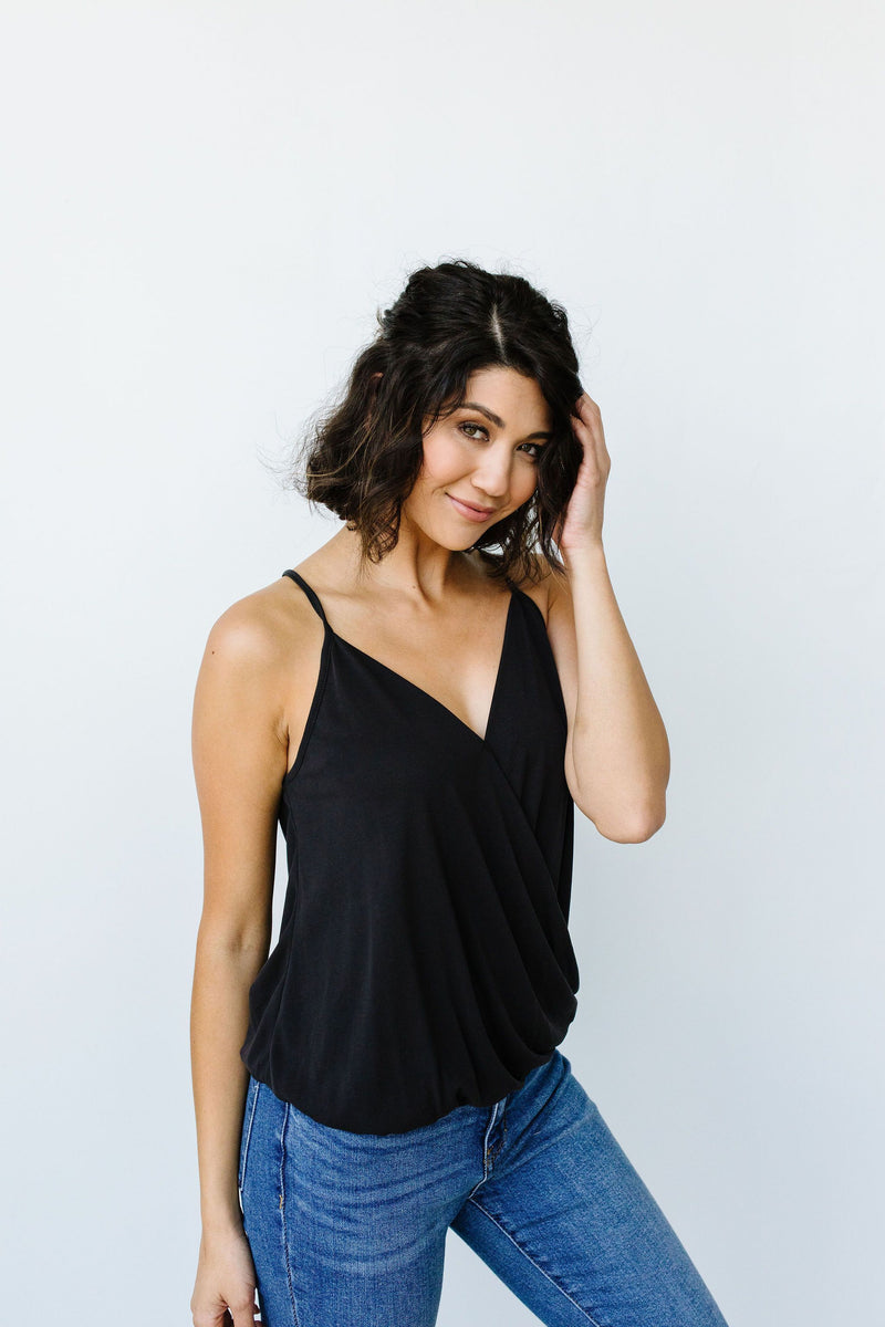 Charlize Surplice Tank In Black - Amaranth Collection