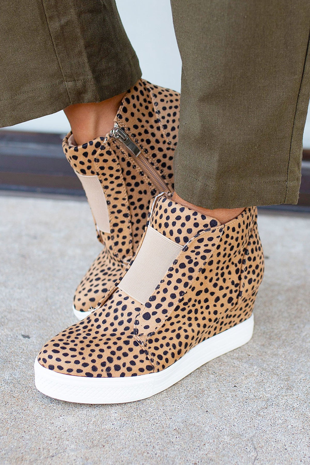 Cheetah Print Wedge Sneaker - Amaranth Collection