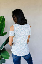 Cold Shoulders & Pale Blue Spots Top