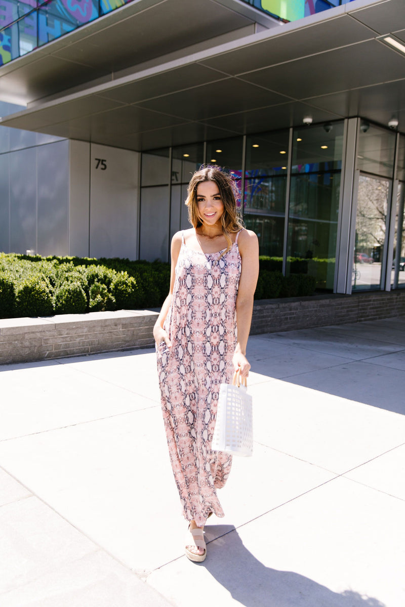 Coral Snakeskin Maxi Dress