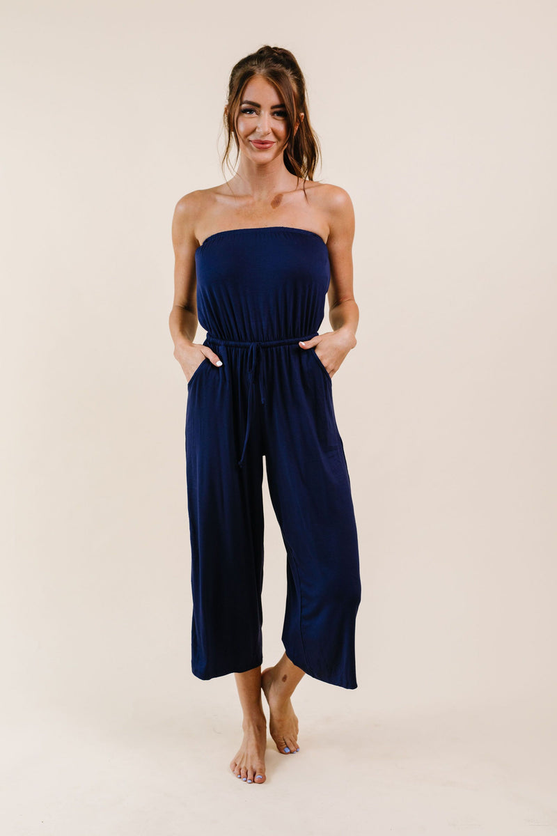 Cropped Tube Top Jumpsuit In Navy - Amaranth Collection