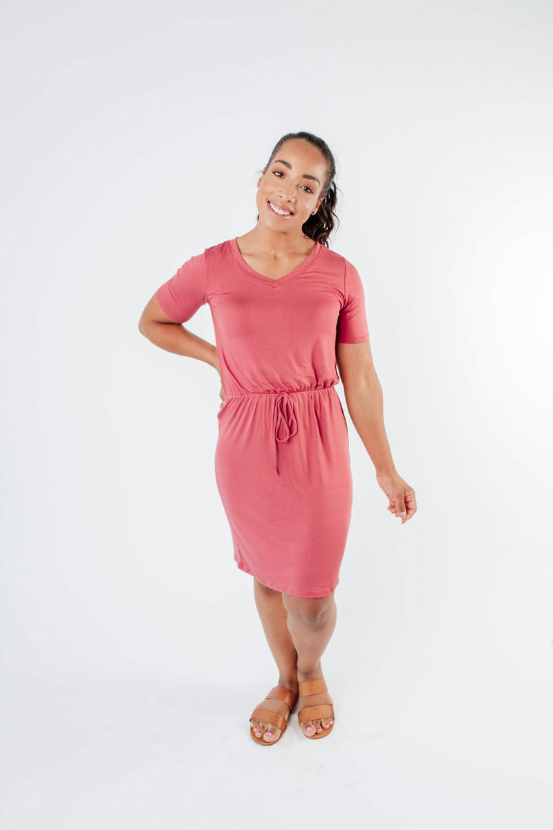 Cute Comfort Dress In Terracotta - Amaranth Collection