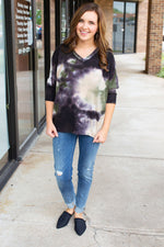 Falling For You Tie Dye 3/4 Sleeve Top - Amaranth Collection