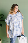 Denim Tie Dye Ruffle Sleeve Blouse