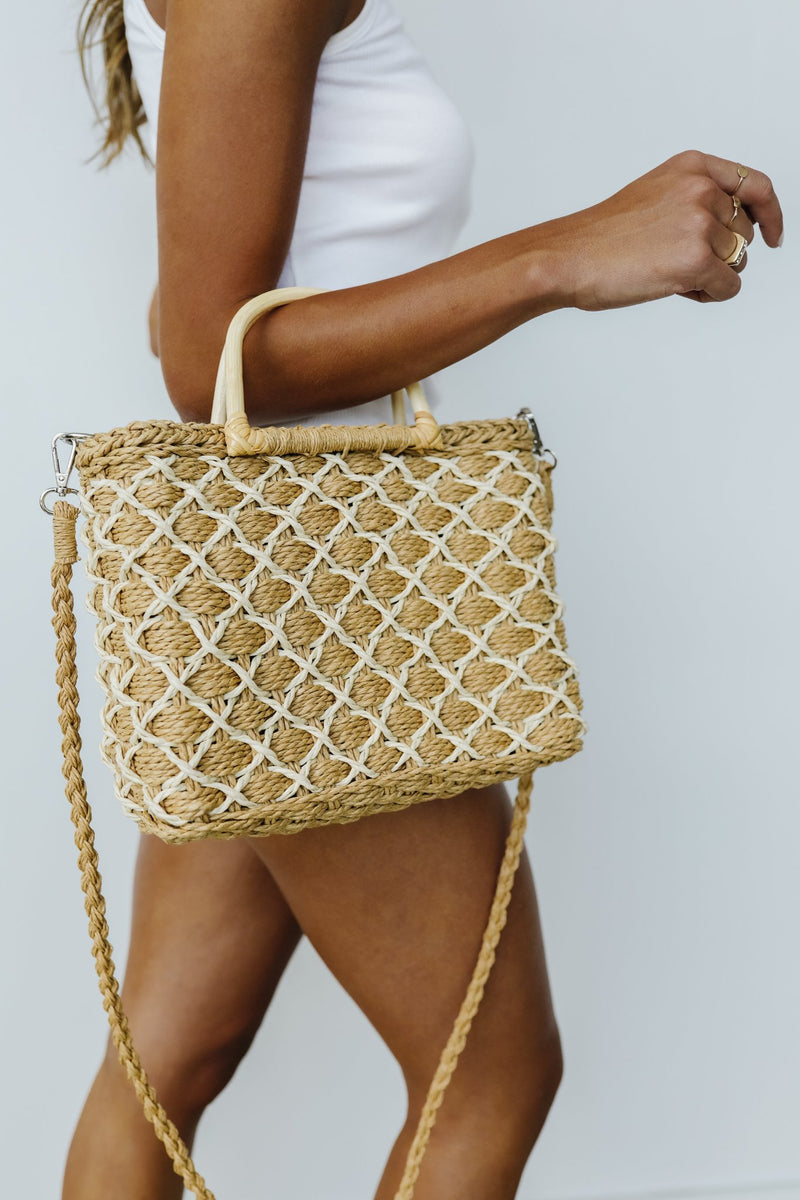 Diamond Weave Straw Bag - Amaranth Collection