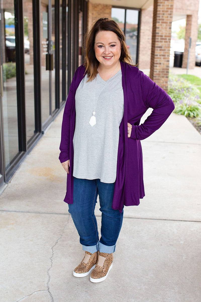 Lightweight Solid Cardigan in Eggplant